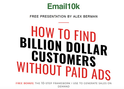 Alex Berman – Email 10K Value: $997.00