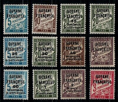 GUYANE : TAXE 1 à 12, Neufs * = Cote 29 € / Lot Timbres DOM TOM France