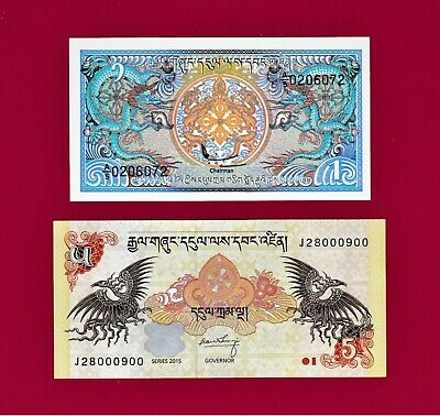 BEAUTIFUL BHUTAN GEM-UNC NOTES: 1 Ngultrum 1985 (P-12), & 5 Ngultrum 2005 (P-22)