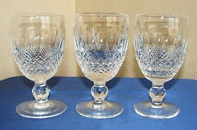 """(3) Signed Waterford Crystal Colleen  Short Stem Claret Wine Glasses 4 3/4"""" Tall"""