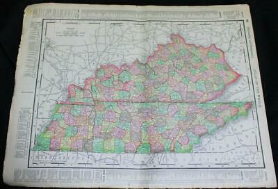 Rand Mcnally Atlas Map Page Mississippi Kentucky Tennessee 1895 Vintage