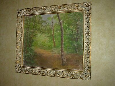 """Very Old Oil Painting Forest & Trees Monogram """"Cs"""" Unknown Framed- Maywood,  Ca"""