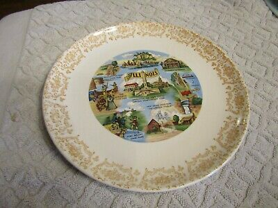 Vintage 1950s State Collector Souvenir Plate Illinois Starved Rock Chicago