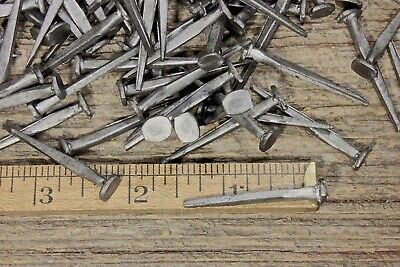 """1 1/2"""" Square NAILS 50 lot antique wrought iron look round flat head Brads 1.5"""""""