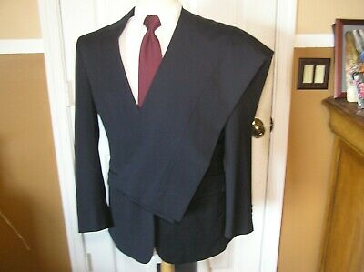 Jos A Bank 2 Pc Travelers Collection Tailored Fit Black Wool 38R 32W Mens Suit