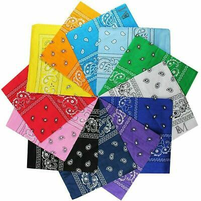 Large Pack of 12 100% COTTON 12+ Colors Non Fading Paisley Bandanas 22 x 22 IN.