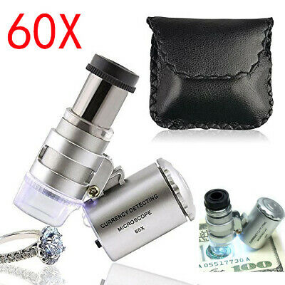 60X Magnifying Loupe Jewelry Jewelers Pocket Magnifier Loop Eye Coin Led Lights