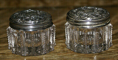 PAIR of Antique Victorian Sterling Silver on Patterned Glass Rouge Jars 1.5""