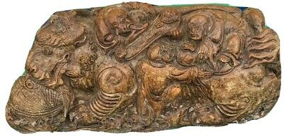 Rare Antique Qing / Chinese Republic Soapstone Dragon Group Boulder Carving