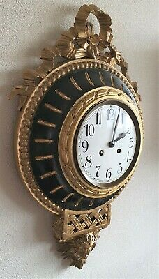 Cartel Clock Rococo French Antique Wooden Case Pendulum 8 Day Rare 56cm Length
