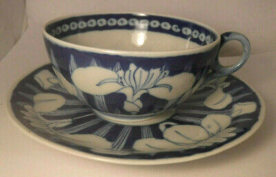 Antique Chinese Japanese Blue & White Hand Painted LOTUS Tea CUP & SAUCER Signed