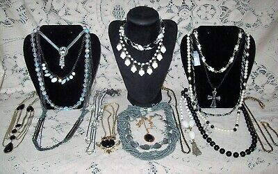 20 Piece Modern and Vintage B&W Mixed Necklace Lot - Trifari, Givenchy
