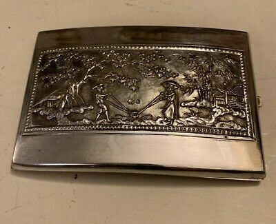 Antique Handmade  Chinese Asian Scenic Sterling Silver Card Cigarette Case