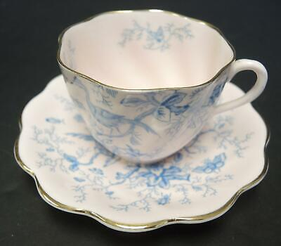 Vintage Cairo Blue On Pink Coalport Cup and Saucer