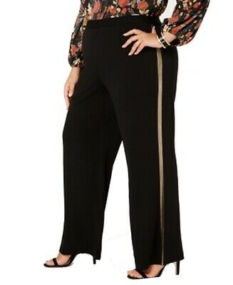 NY Collection Women's Black Size 2XP Plus Striped Dress Pants Stretch $56 #342