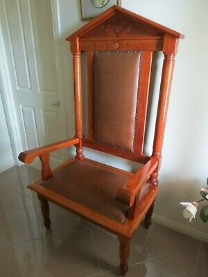 Rare Blackwood Freemason's Ceremonial Chair c 1920s with Leather Inserts