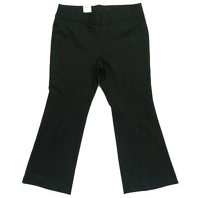 INC Womens Pants Black Size 16W Plus Split Front Pull On Flare Stretch $89 336