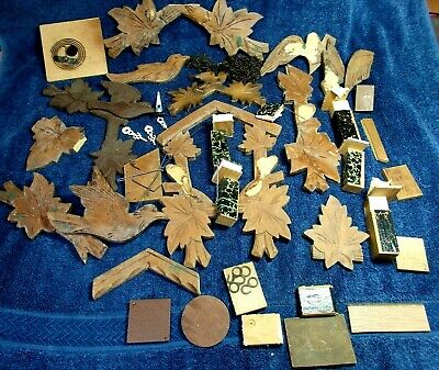 Large Lot Of Cuckoo Clock Parts, Trim Topper Bird/Leaves , Bellows Wire Etc