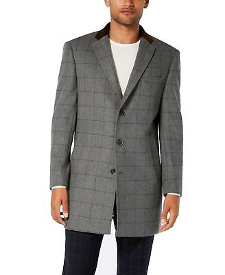 Tallia Mens Coat Gray Brown 2XL Notch-Collar Windowpane Button-Front $425 010