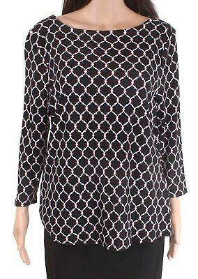 Charter Club Womens Black Combo Size 3X Plus Printed Pullover Boat-Neck $27 #287