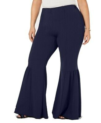 NY Collection Womens Pants Blue Size 1XP Plus & Petite Bell Hem Stretch $54 #175