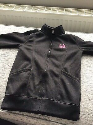 LA Gear Girls Zipped Black and Pink Hoodie Top Age 7-8 Years