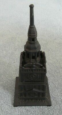 "RARE Victorian Antique Cast Iron Tower Bank Money Box 9.25"" tall"