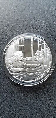 Winston  Churchill Writing at Chartwell  Sterling Silver Proof Hallmarked Medal