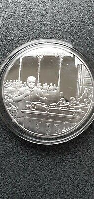 Winston  Churchill Famous Speeches  Sterling Silver Proof Hallmarked Medal