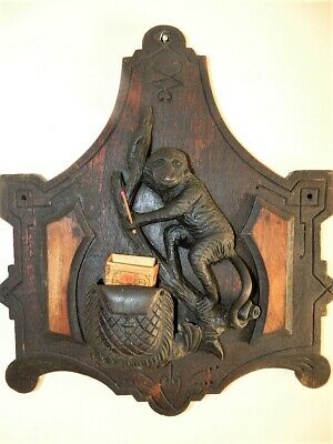 Antique FOLK ART Hand Carved Monkey Match Holder & Striker Plaque Safe