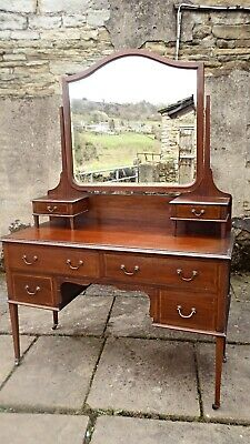 Edwardian Mahogany Inlaid Dressing Table with large Mirror