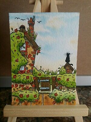 """Original Watercolour Painting ACEO """"Overgrown Garden"""" by Colin Coles"""