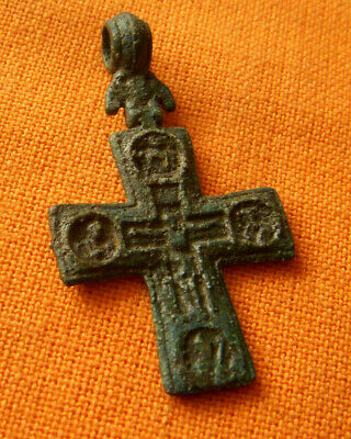 38.Medieval style bronze double faced cross.