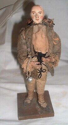 Antique Chinese Composition Doll Figure / Man Basket / Pewter Cup UNUSUAL
