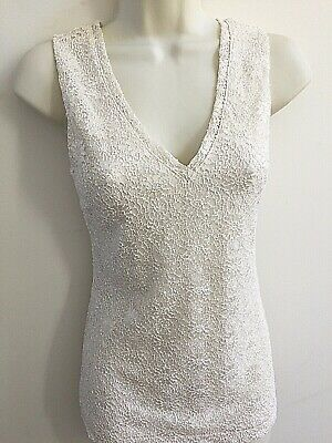 Banana Republic Woman's Ivory Lace Sleeveless V-Neck Blouse Top Size XS