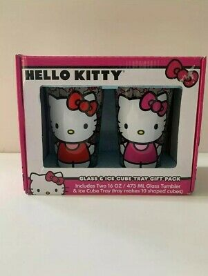 Hello Kitty 16 oz glass and Ice cube tray gift set
