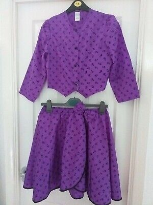 Skirt & top purple satin floral kid girl 10-12 years 158-164cm c&a vintage 1990