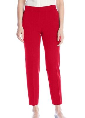 Kasper Womens Pants Cherry Red Size 16 Stretch Crepe Slim Ankle Leg $79 424