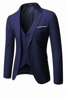 Designer Brand Mens Suit Separate Blue Large L 2 Piece Vest Blazer $129- 599