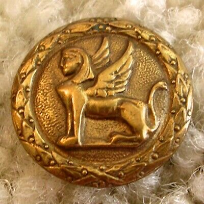 """Rare Antique French Egyptian """"Winged"""" Sphink brass button, 1880s/1890s"""