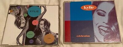 KYLIE MINOGUE - CELEBRATION + GIVE ME JUST A LITTLE MORE TIME (2x UK CD SINGLES)