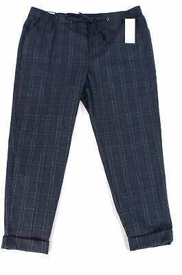 Charter Club Women's Blue Size 16W Plus Slim Leg Plaid Pants Stretch $79 #361