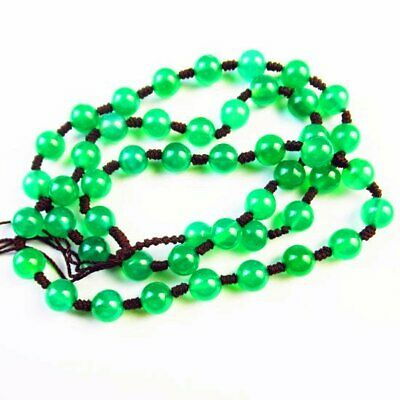 8mm Green Jade Round Ball Pendant Bead NeckLace 17.5 Inch A33494