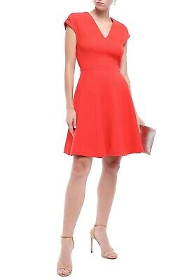 New $1390 LELA ROSE Womens Size 16 Wool Blend A-line Crepe Flare Dress Coral