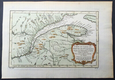 1757 Nicolas Bellin Large Antique Map Mouth of St Lawrence River Quebec, Canada