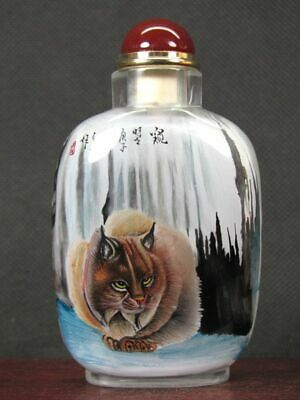 Fine Chinese Bat Fox Inside Hand Painted Man Made Crystal Snuff Bottle