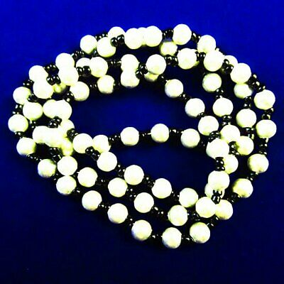 6mm White Hematite Round Ball Pendant Bead NeckLace 17.5 Inch A33498