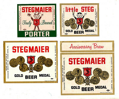 4 - 1950s STEGMAIER BREWING CO, WILKES-BARRE, PA LITTLE STEG, PORTER BEER LABELS