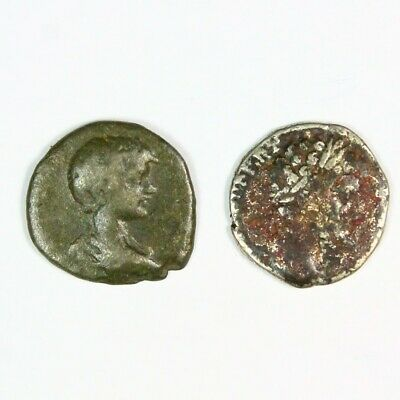 Two (2) Ancient Roman Silver Denarius Coins c. 250 AD Exact Lot Shown 6688