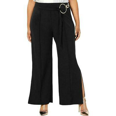 NY Collection Womens Pants Black Size 2X Plus Hardware Flare Stretch $54 224